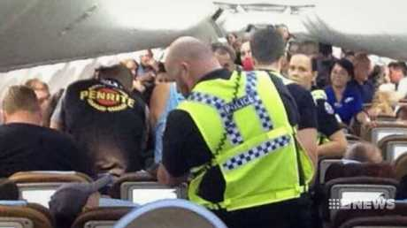 Port Hedland police took the pair off the plane. Picture: 9 News