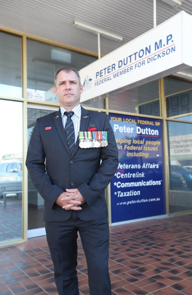 Captain Jason Scanes maintained a one-man daily protest outside Peter Dutton's electorate office. Picture: Annette Dew
