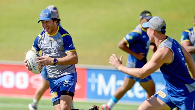 Johnathan Thurston's final training session on the turf of 1300Smiles stadium today, leading up to their last NRL game of the year against the Gold Coast Titans on Saturday night and the last game of his career with the Cowboys.