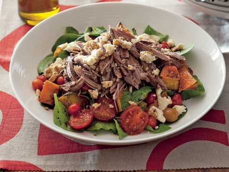A CSIRO Total Wellbeing Diet recipe — Slow Cooked Lamb Shoulder with Pumpkin and Feta Salad.