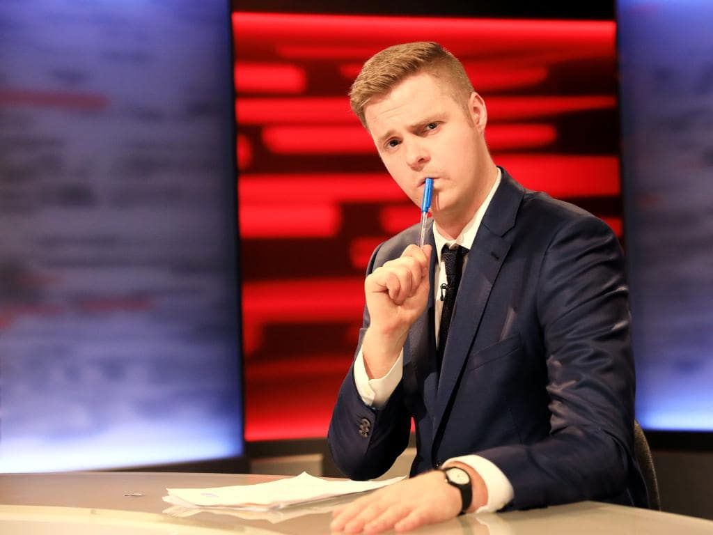 Tom Ballard hosts his show Tonightly With Tom Ballard.