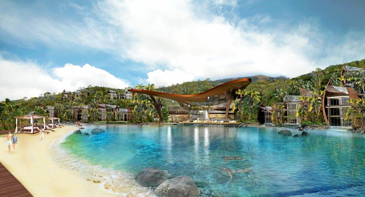 Artist Impression of the Lagoon pool at the new look Lindeman Island, due to be finished by 2022.