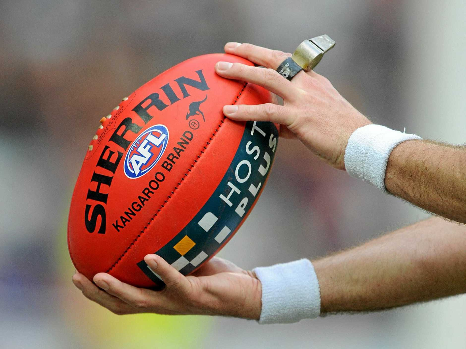 Generic image of the umpire holding the ball. (AAP Image/Joe Castro) NO ARCHIVING, EDITORIAL USE ONLY