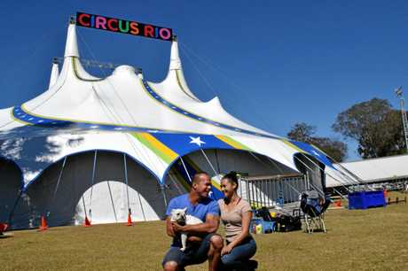 Circus Rio's Marc Matousek and Chantal Ward will perform their aerial act in Lismore this evening. They are pictured with their dog Willow.