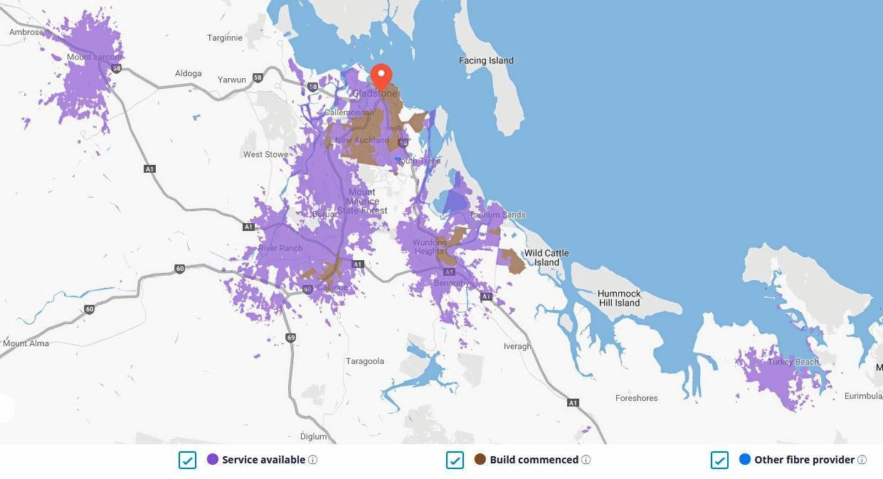 Map showing status of the NBN in the Gladstone region as at August 30, 2018.