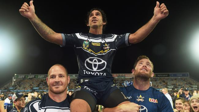 Johnathan Thurston left 1300 Smiles Stadium in Townsville a winner but the Titans hope to rain on his parade on Saturday. Picture: Zak Simmonds