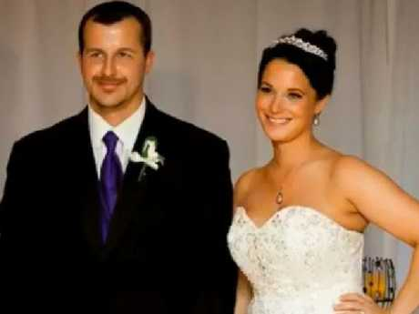 Chris Watts and Shanann Watts on their wedding day. Watts revealed to police that he had planned to leave his wife. Picture: Supplied