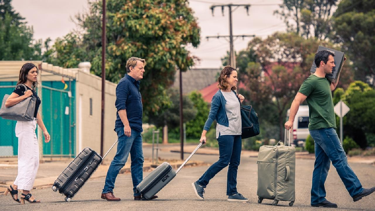 L-R: Vanessa Guide, Eddie Izzard, Emily Taheny and Luke McKenzie in a scene from Australian film The Flip Side
