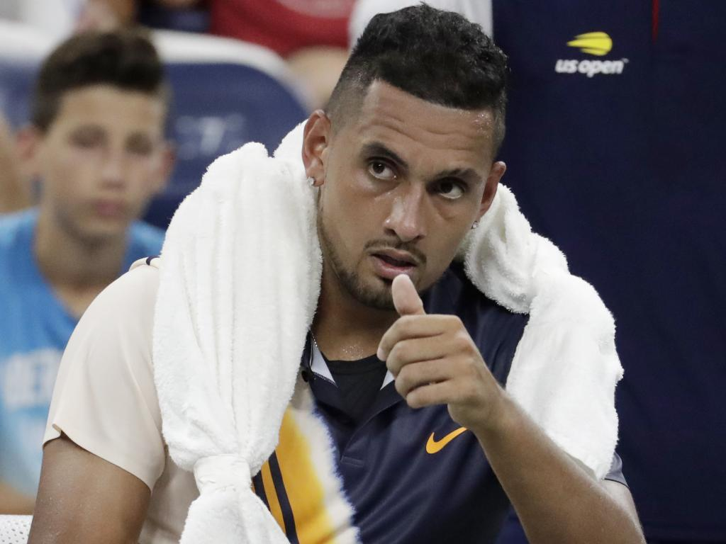 Nick Kyrgios, of Australia, gestures during his first round match against Radu Albot. Picture: AP Photo