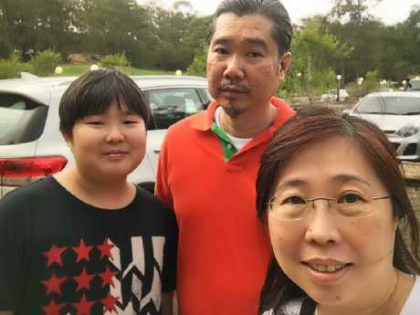 Tourists Jyh Ang Koo, Kelly Tan, and their son Edison Koo, were seriously injured in a car crash near Lismore last December. Picture: Supplied.