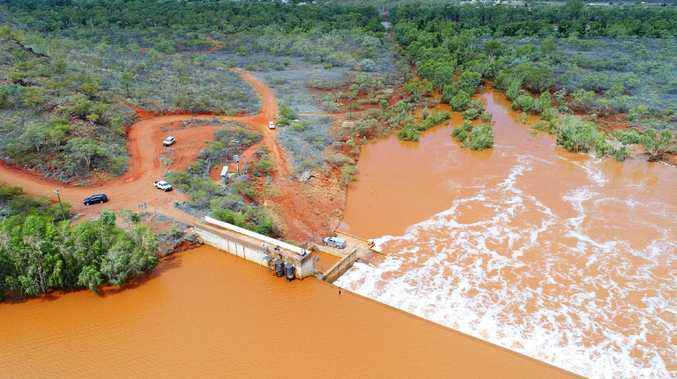 A free flowing Chinamans Dam at Cloncurry. Picture: Lachie Millard
