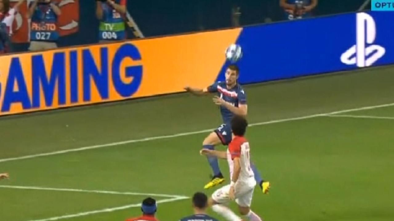 Australia's Milos Degenek sets up a goal for Red Star Belgrade.