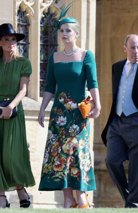Lady Kitty Spencer arrives at the wedding of Prince Harry to Meghan Markle. Picture: Chris Jackson