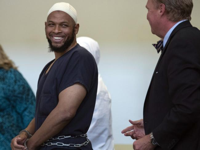 Siraj Ibn Wahhaj laughs in court. Picture: Roberto E. Rosales/The Albuquerque Journal via AP