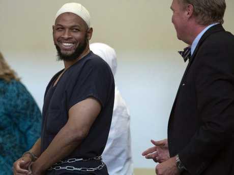Siraj Ibn Wahhaj laughs in court. Picture: Roberto E. Rosales/The Albuquerque Journal via AP
