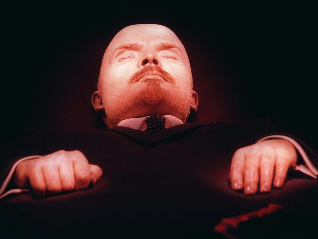 The embalmed body of Vladimir Lenin, founder of the Soviet Union, is on display in his tomb on Moscow's Red Square in 1997. Lenin is one of several world leaders whose bodies have been preserved and put on perpetual display. Picture: AP Photo/Sergei Karpukhin