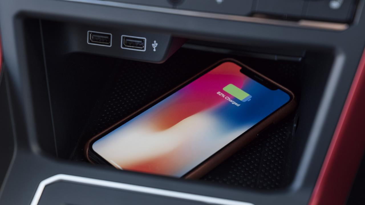 The optional wireless phone charging available with the sound and vision package even penetrates phone cases, unlike other brands that are hit and miss. Picture: Supplied.