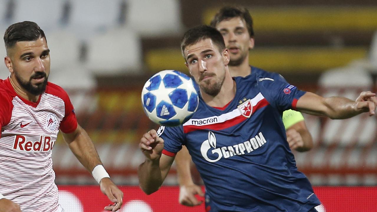 Milos Degenek in action against Salzburg.