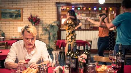 L-R: Eddie Izzard, Vanessa Guide, Emily Taheny and Luke McKenzie in a scene from Australian film The Flip Side