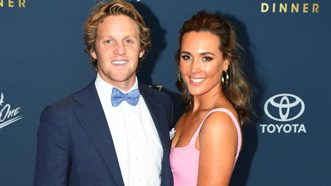 06/10/17 - Red carpet at Crows Club Champion Awards at the Convention Centre. Rory Sloane and Belinda Sloane. Picture: Tom Huntley