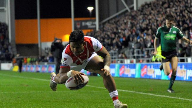 Ben Barba scores a try for St Helens against the Castleford Tigers on February 2 in St Helens, England. Picture: Nathan Stirk/Getty Images