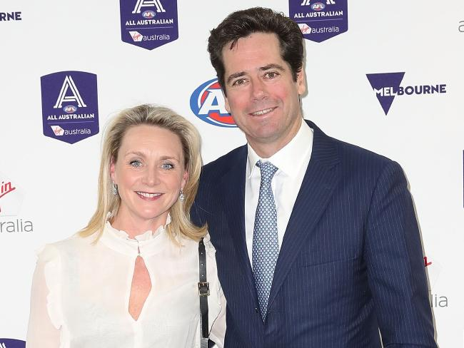 AFL CEO Gillon McLachlan and his wife Laura McLachlan. Picture: Getty Images