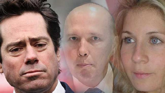 AFL boss Gillon McLachlan, Peter Dutton and au pair Alexandra Deuwel.