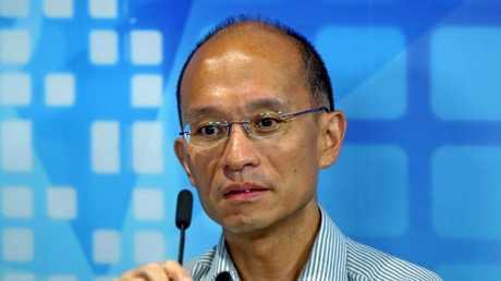 Hong Kong University mechanical engineering associate professor Cheung Kie-chung attends a radio program in Hong Kong. Picture: AP