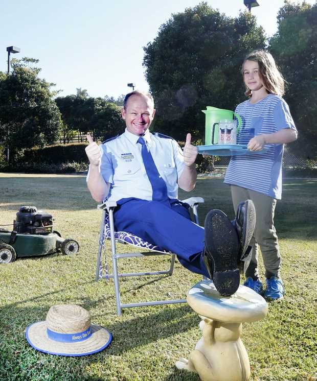 Image for sale: Tweed Heads Dad Wayne Starling gets the Royal treatment from his daughters Jesse and Bonnie for fathers day.