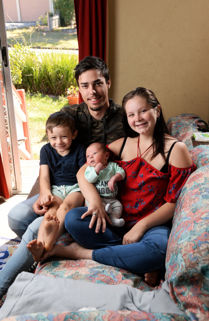 Joshua, 4, and his brother, nine-day-old Lucas, with parents Jacob Barrass, 21, and Rhaina Sheppard, 18.