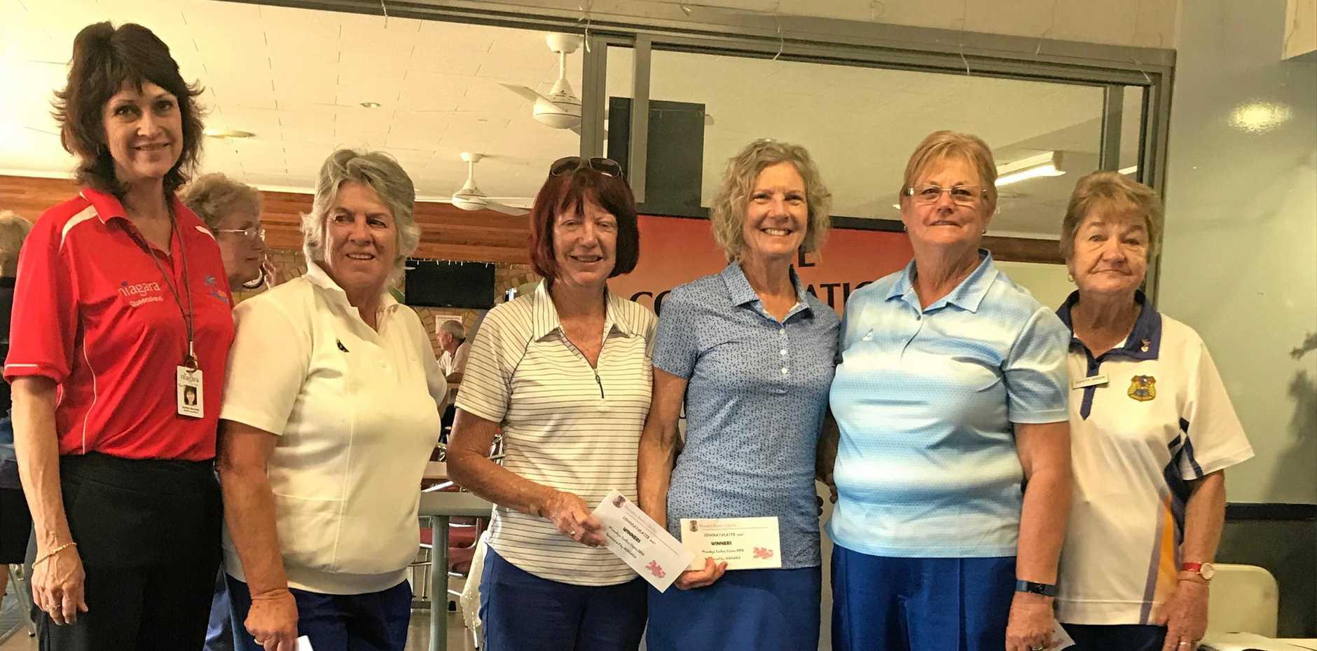 WINNERS ARE GRINNERS: Sponsor Niagara's Heather Marshall with Ladies Fiesta Fours winners Neeta Chant (skip), Desley Williams, Shirley Cornish, Mary Geary and Jeanette Morrow (Woombye Ladies President).