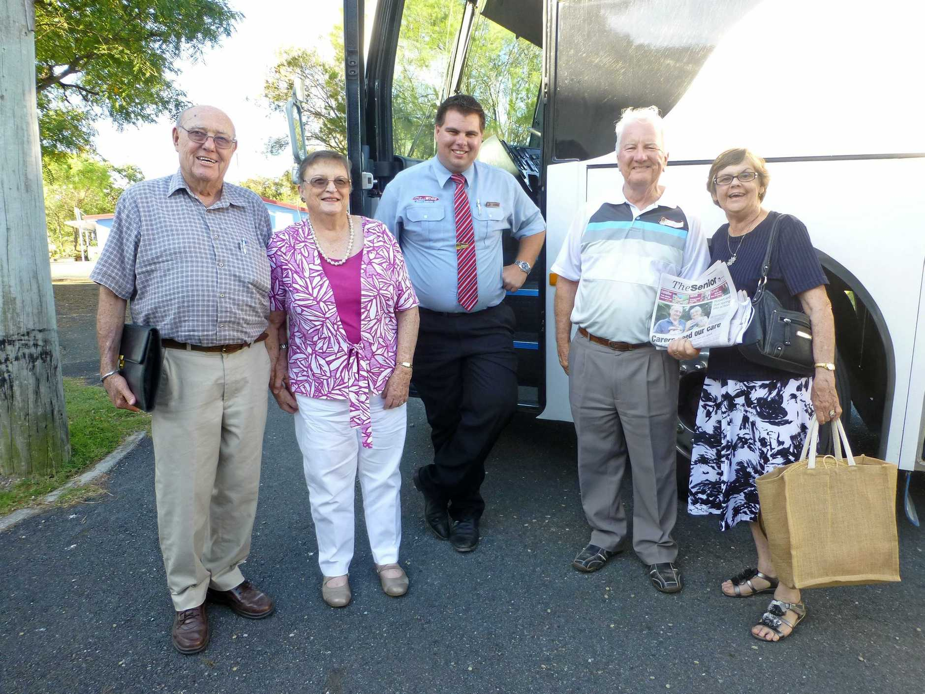 GREAT DAY OUT: Members from the North Brisbane branch of AIR recently enjoyed an outing. Pictured are Nev , Bev, driver Chris, Col and Ann.