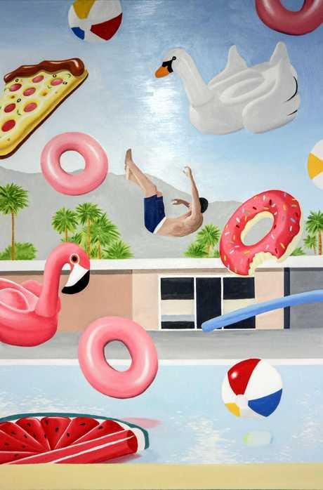 University of the Sunshine Coast Art Gallery's Creative Generation: Leon Zhan's Pool of Pleasure 2017 oil on canvas (photo courtesy of the artist).