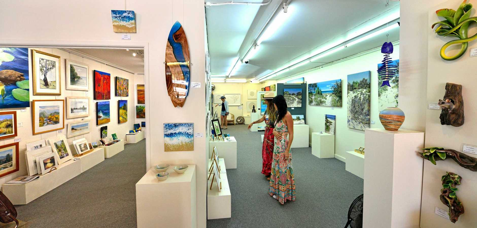 CONTEMPORARY ART SPACE: Inside Seaview Artists' Gallery at Moffat Beach (above) where visitors can come face to face with artists.