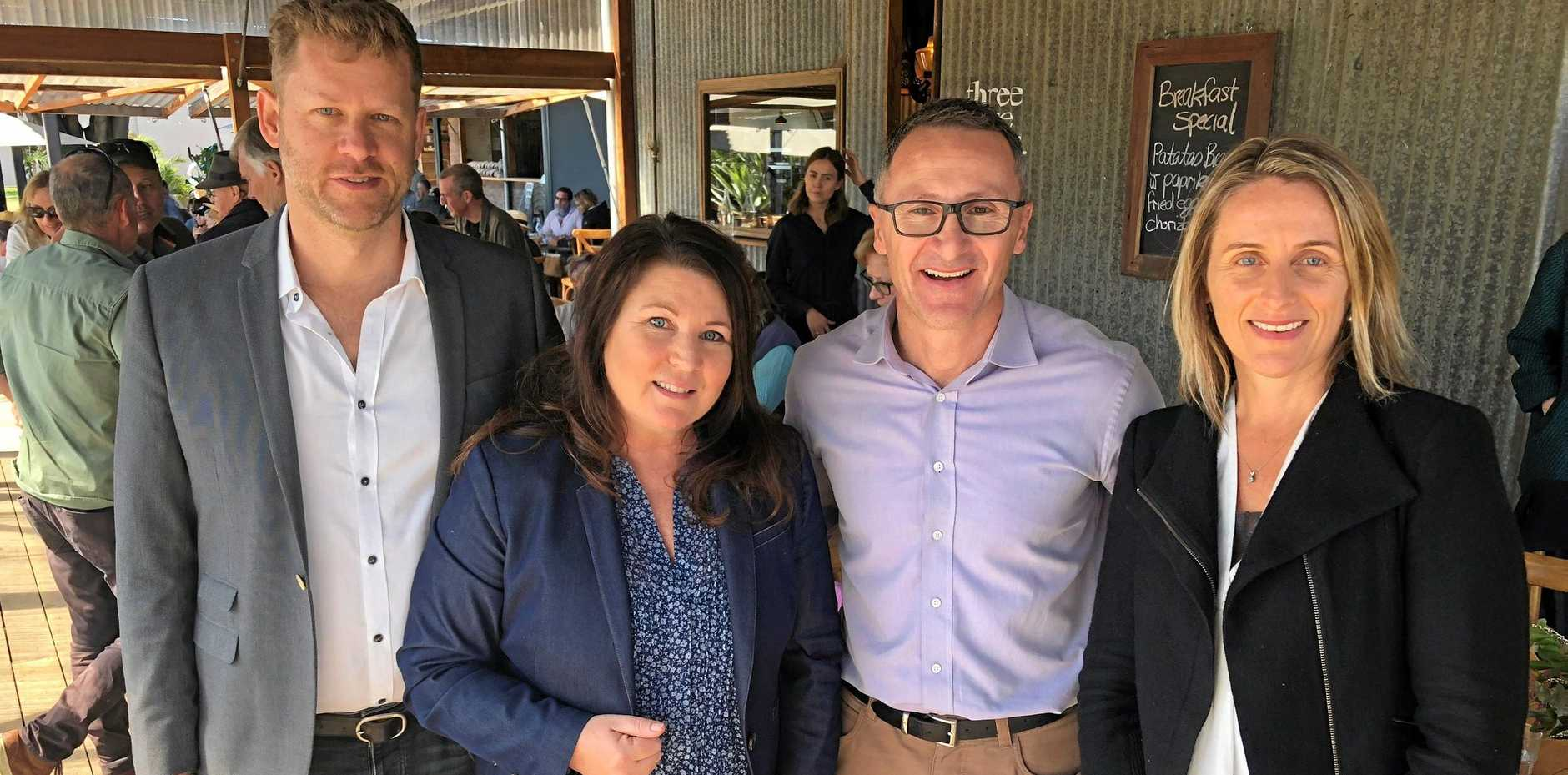 GATHERING GREENS: Greens candidate for the Federal seat of Richmond and Byron Shire councillor Michael Lyon with Ballina MP Tamara Smith, Federal Greens leader Richard Di Natale and Greens candidate for the state seat of Lismore Sue Higginson.