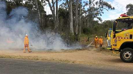 FIRE DANGER: Rural firefighters battling a blaze at East Deep Creek earlier this month.