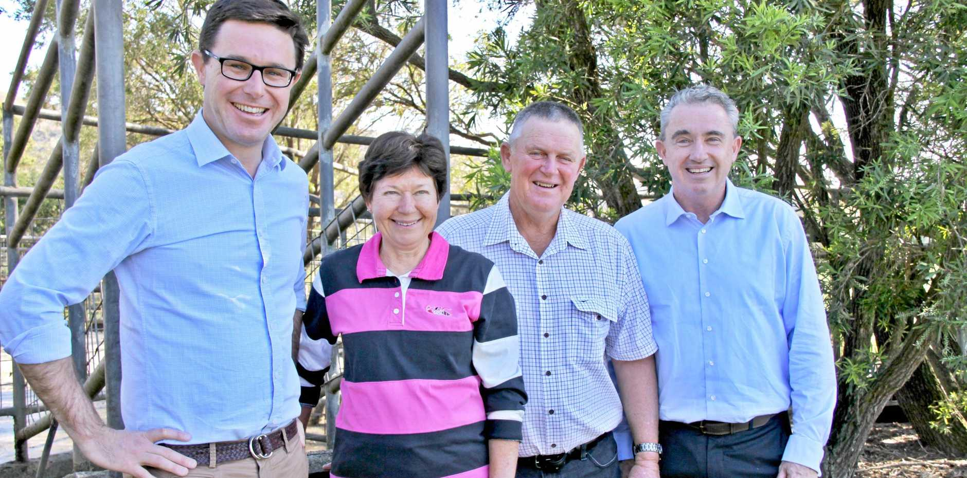 DAIRY FUNDING: The Minister for Agriculture and Water Resources David Littlewood, met Bexhill dairy farmers Eileen and Craig Waddell as he and Kevin Hogan MP made an announcement for $480,000 funding for Dairy Australia to look at sustainable farming practices.