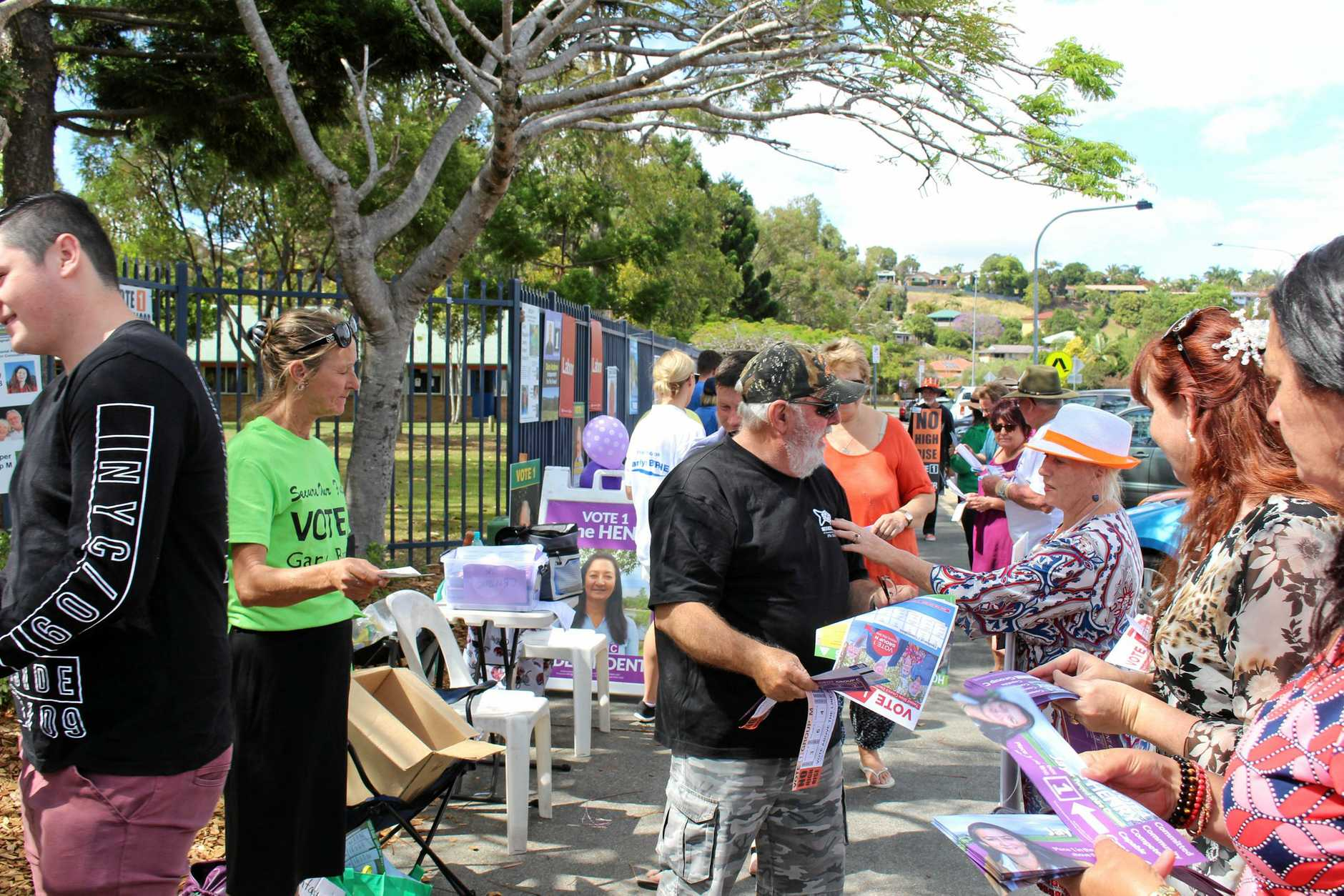 ELECTION DAY: Tweed Shire Council candidates and their supporters handing out flyers to voters on election day at Centaur Primary School in 2016.
