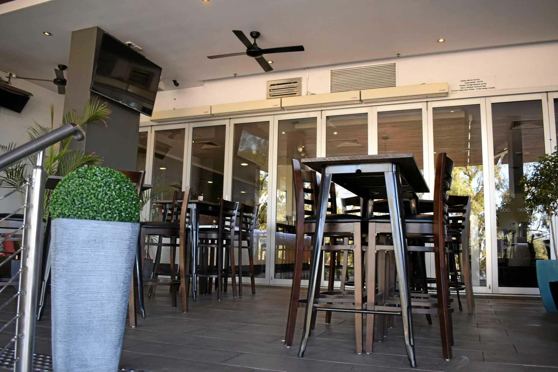The Edge Bar and Restaurant has indoor and outdoor seating overlooking the Fitzroy River.