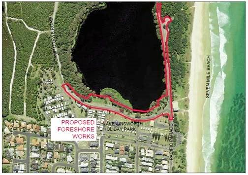 Location of proposed Lake Ainsworth foreshore works (outlined in red)