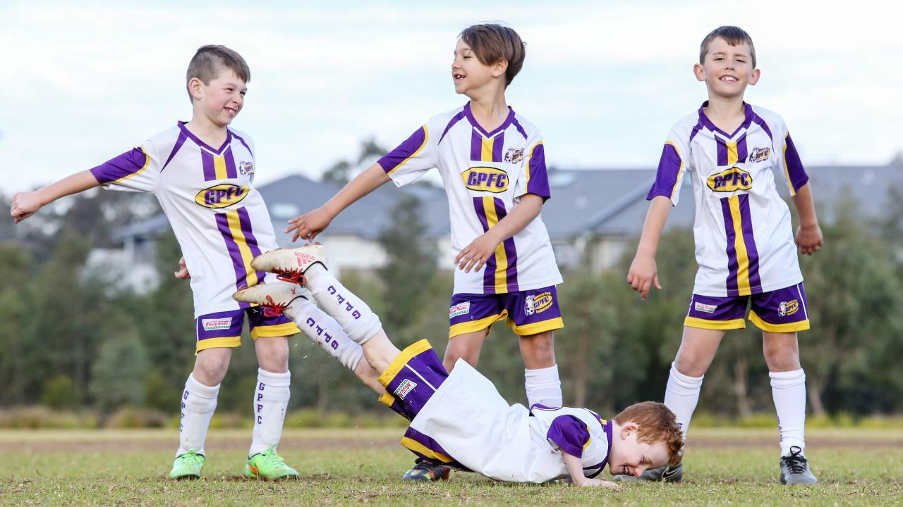 Flossing and hip-hop moves? Why not? Glenmore Park under 8s start experimenting. Picture: Justin Lloyd