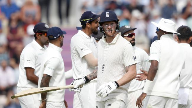 Ben Stokes fell cheaply in England's embarrassing collapse. Picture: AP