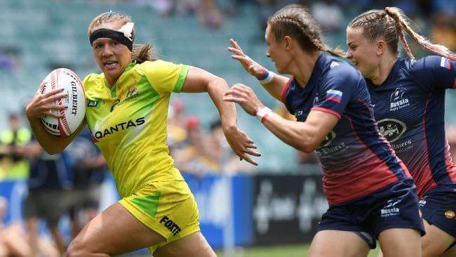 Evania Pelite of Australia at the Sydney 7's against Russia.