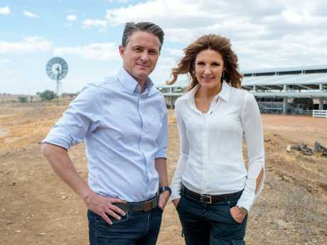 Channel 7's Max Futcher and Sharon Ghidella in Longreach ahead of tonight's drought appeal telecast