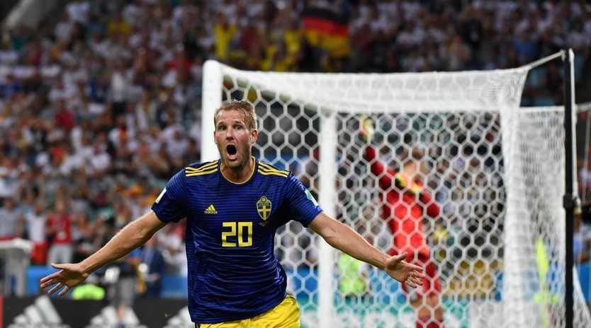 Sweden's forward Ola Toivonen celebrates scoring against Germany at the World Cup.