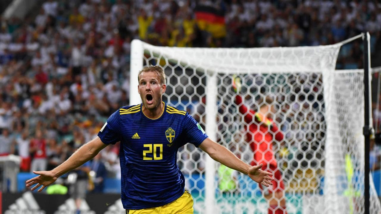 Sweden's forward Ola Toivonen celebrates scoring against Germany at the World Cup.