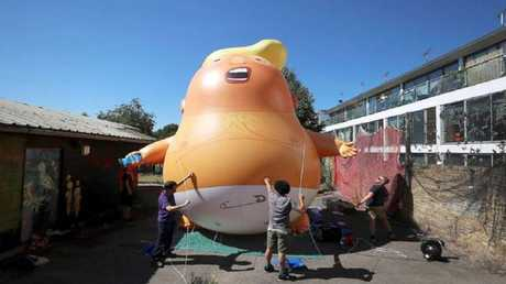 The Trump 'Angry Baby' Blimp got the green light to fly during the US President's visit to the UK in July. Picture: Supplied