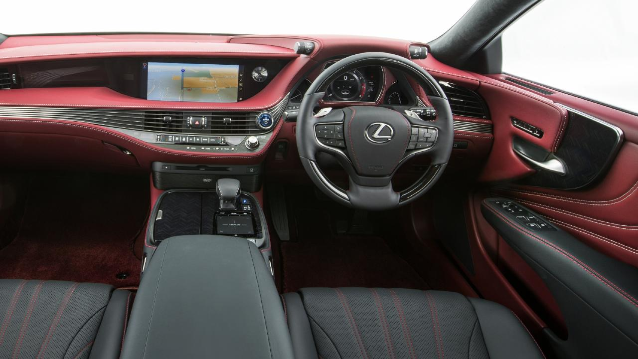 The Lexus LS500 interior is dramatically different from its peers, but the infotainment touchpad controller is too clever for its own good. Picture: Supplied.