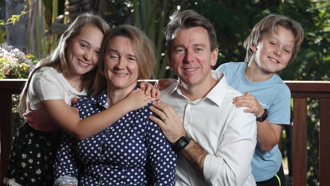 Anita Link and Michael Hassall with their children Elsa, 12, and Alex, 8. Picture: Liam Kidston