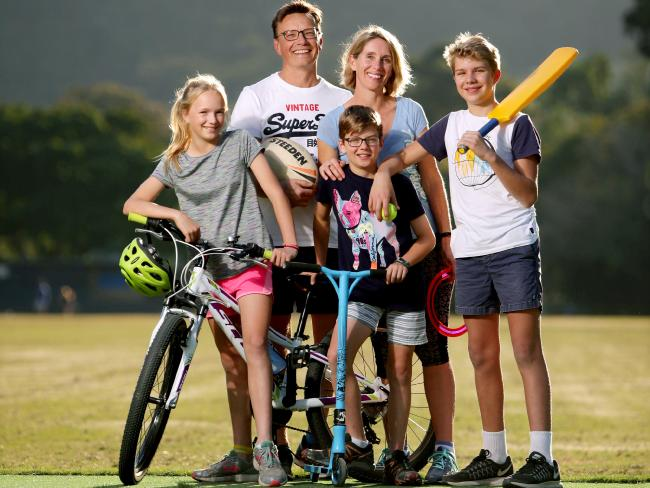 Nicola and Peter Buck with kids Abby and Ben, both 11, and Oliver, 13. Picture: Steve Pohlner/AAP